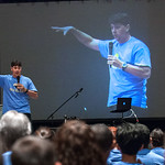 Speaker Doug Tooke, of Monarch Catholic Ministries, talked on the importance of looking to the saints for inspiration to the 300 youth who attended the middle school track at the 2017 Euchar ...