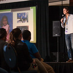 Evan Lemoine talks in revive track Friday night to the youth. The Eucharistic Congress brought  together Catholics from across the archdiocese and the country to celebrate the visible, livin ...