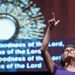 Kathy Byane from Saint Olivers speaks ASL during Saturday Mornings Eucharistic Congress. The Eucharistic Congress brought  together Catholics from across the archdiocese and the country to c ...