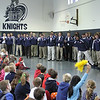 St. Mary's Welcomes Montana's 'Fighting Saints' : The Carroll College football team visited St. Mary's School, Rome, on Dec. 17. The small Catholic college from Helena, Montana visited the Catholic school while they were in town to play in the NAIA football championship game.